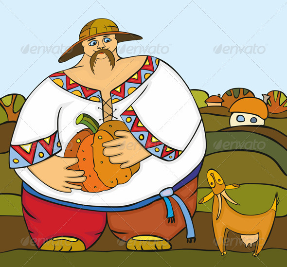 Man Pumpkin Goat Village - Characters Vectors