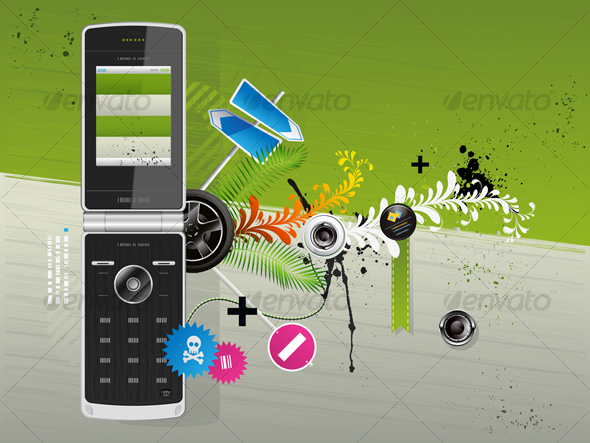 Illustration of a Cellular Phone With Patterns  - Communications Technology