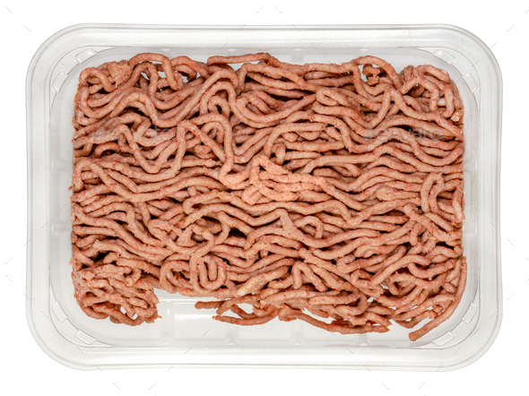 Vegan ground meat, based on pea protein, in a plastic tray - Stock Photo - Images
