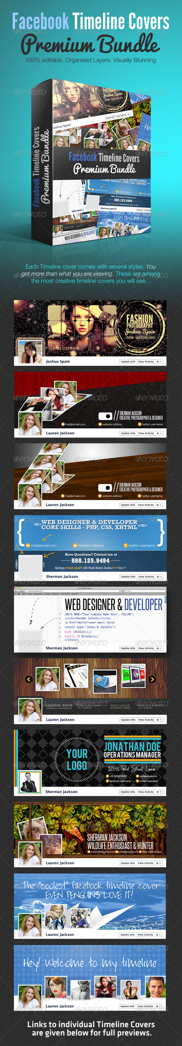 Facebook Creative Timeline Covers Premium Bundle - Facebook Timeline Covers Social Media