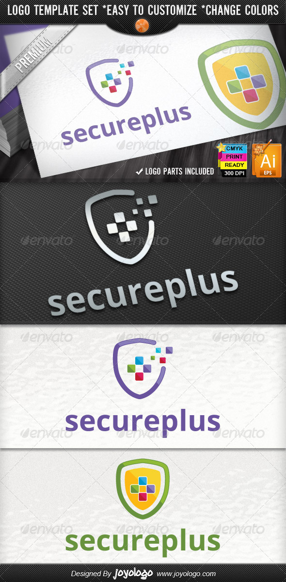 Pixel Plus Online Protect IT Security Logo Design - Symbols Logo Templates