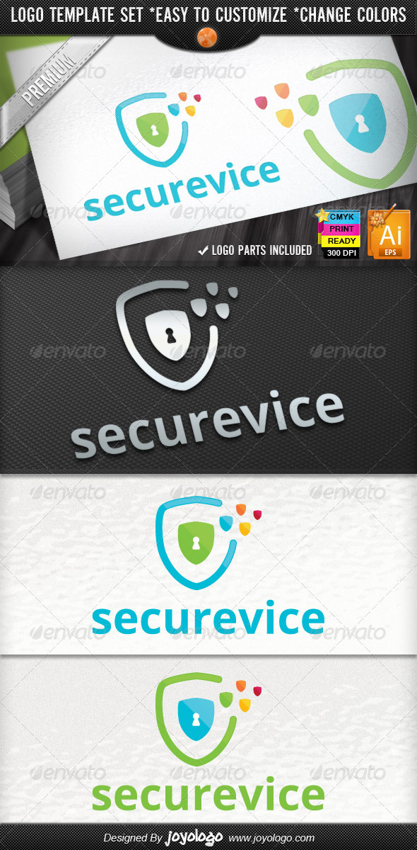 Pixel Shields Pro IT Security Service Logo Design - Symbols Logo Templates