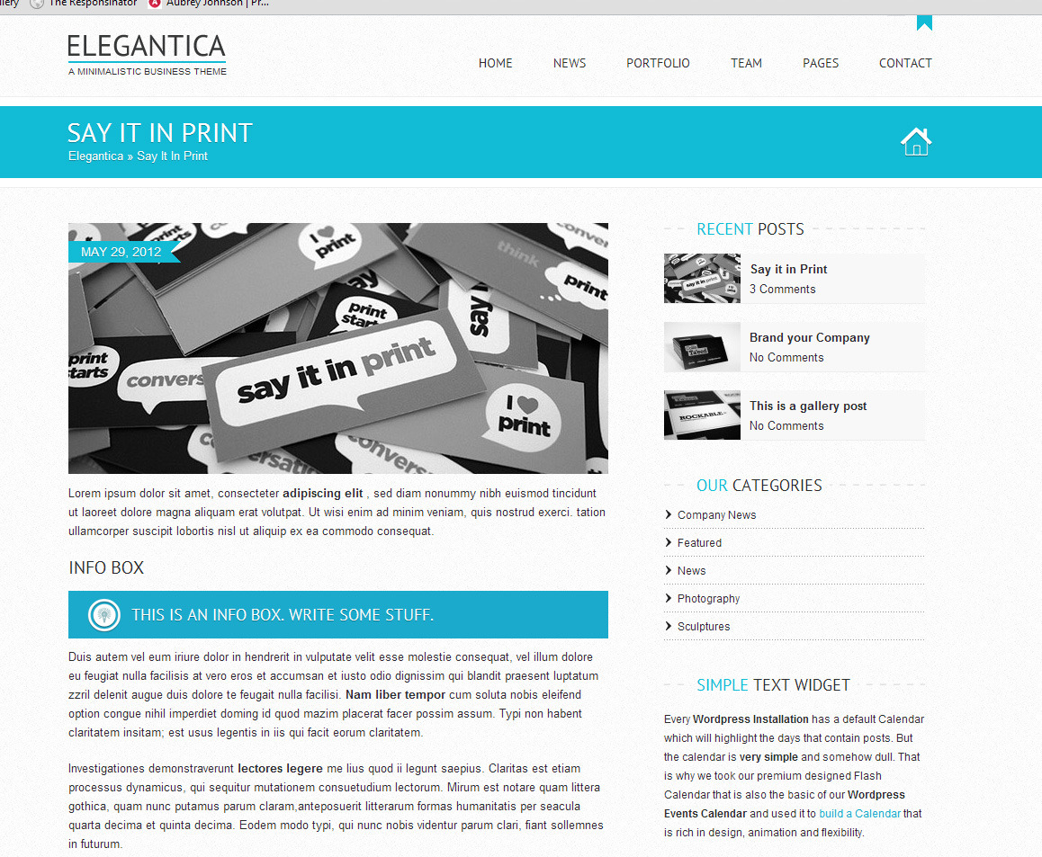 Elegantica responsive business wordpress theme by for Wordpress single post page template