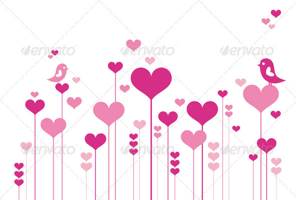 Heart Flowers, Vector Background - Valentines Seasons/Holidays