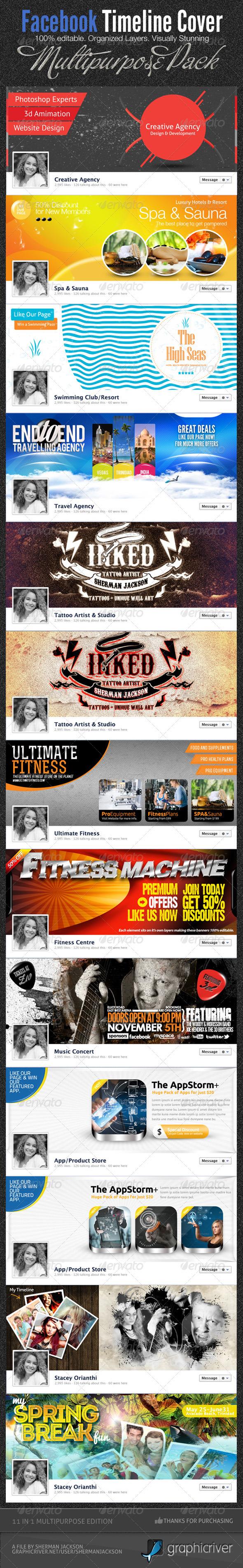 11 in 1 Mega Facebook Timeline Cover Templates - Facebook Timeline Covers Social Media
