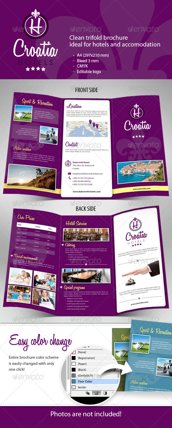 hotel brochure design templates - hotel trifold brochure by msudar graphicriver