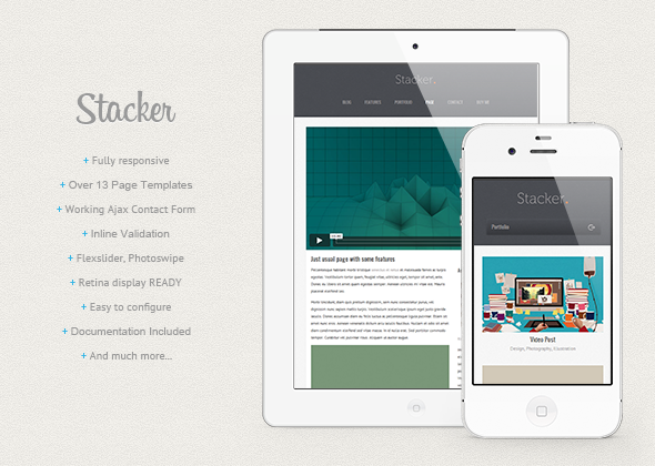 stacker responsive html5 css3 mobile template by xricrdx themeforest. Black Bedroom Furniture Sets. Home Design Ideas