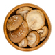Fresh shiitake mushrooms, Lentinula edodes, in a wooden bowl - PhotoDune Item for Sale