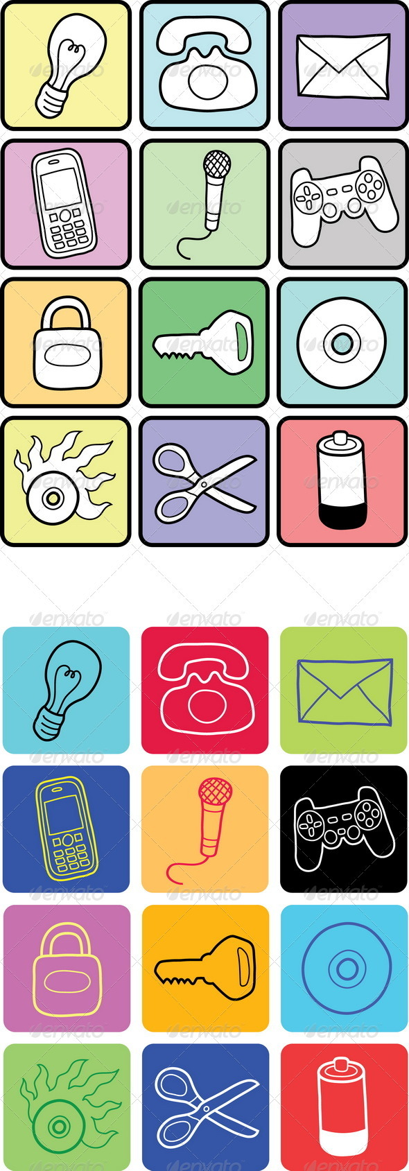12 Hand Drawn Vector Icons  - Concepts Business