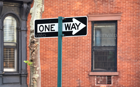 One way street sign in New York City. - Stock Photo - Images