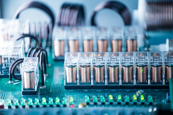 Large green microcircuit and luminous panels - Stock Photo - Images