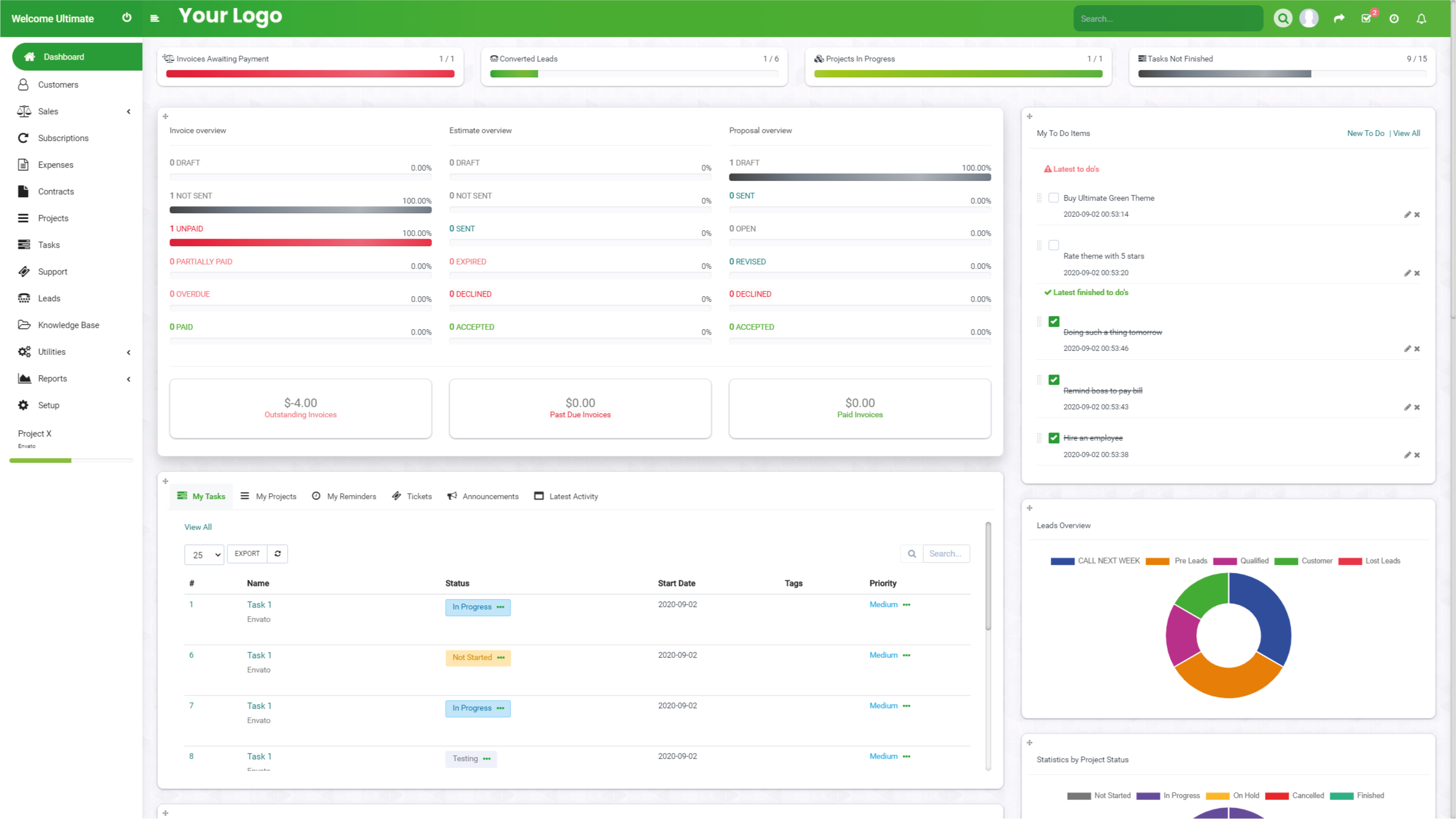 Ultimate Green Theme for Perfex CRM