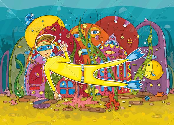 Diver Underwater Inhabitant  - Characters Vectors