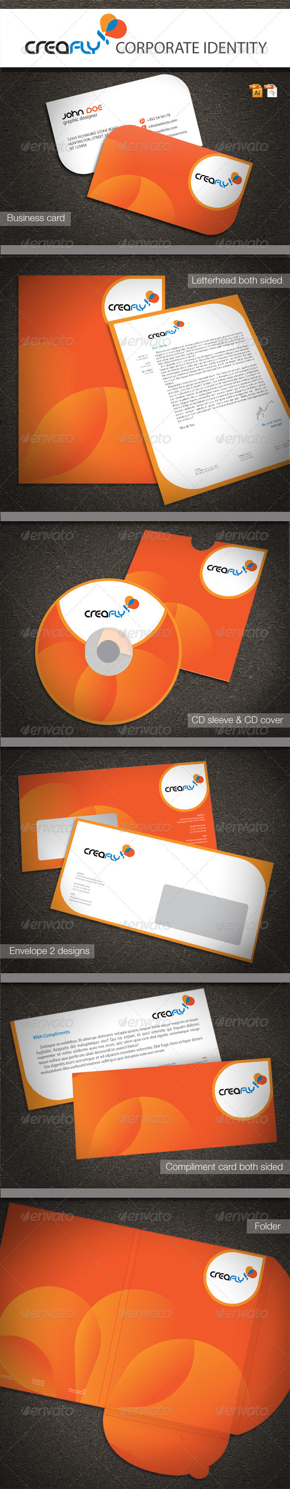 CreaFly Corporate Identity - Stationery Print Templates
