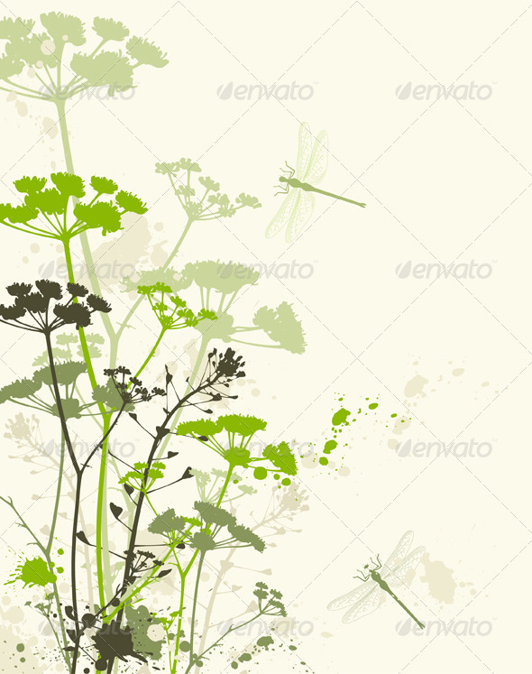 Green Grunge Floral Background - Flowers & Plants Nature