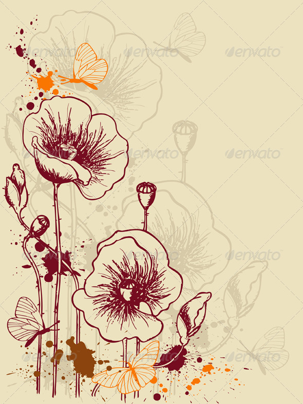 Floral Background with Poppies - Backgrounds Decorative