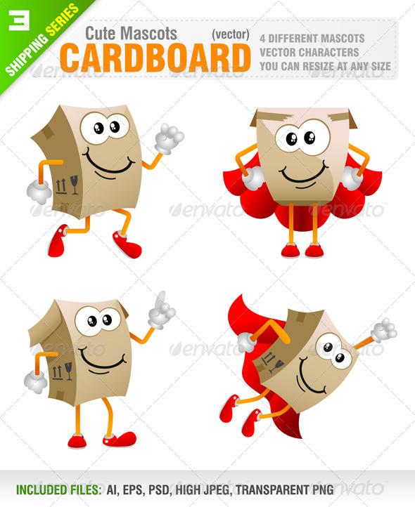 4 Cardboard Mascots - Characters Vectors