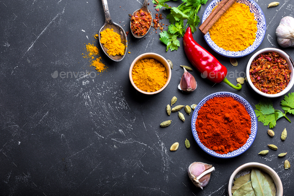 Indian food cooking background - Stock Photo - Images