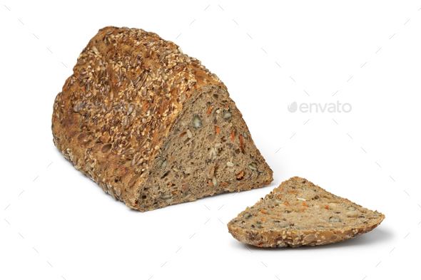 Fresh triangle loaf of German healthy rye seed bread - Stock Photo - Images