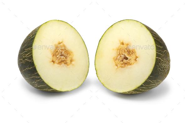 Halved Piel de Sapo melon - Stock Photo - Images