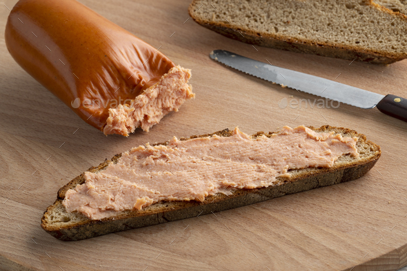 Traditional German Teewurst on bread - Stock Photo - Images