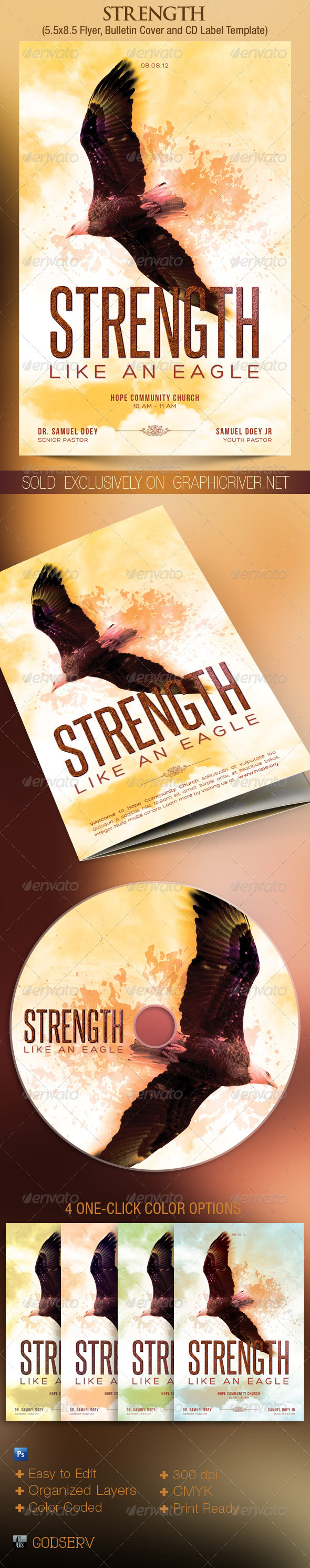 Eagle Strength Flyer Bulletin CD Template - Church Flyers