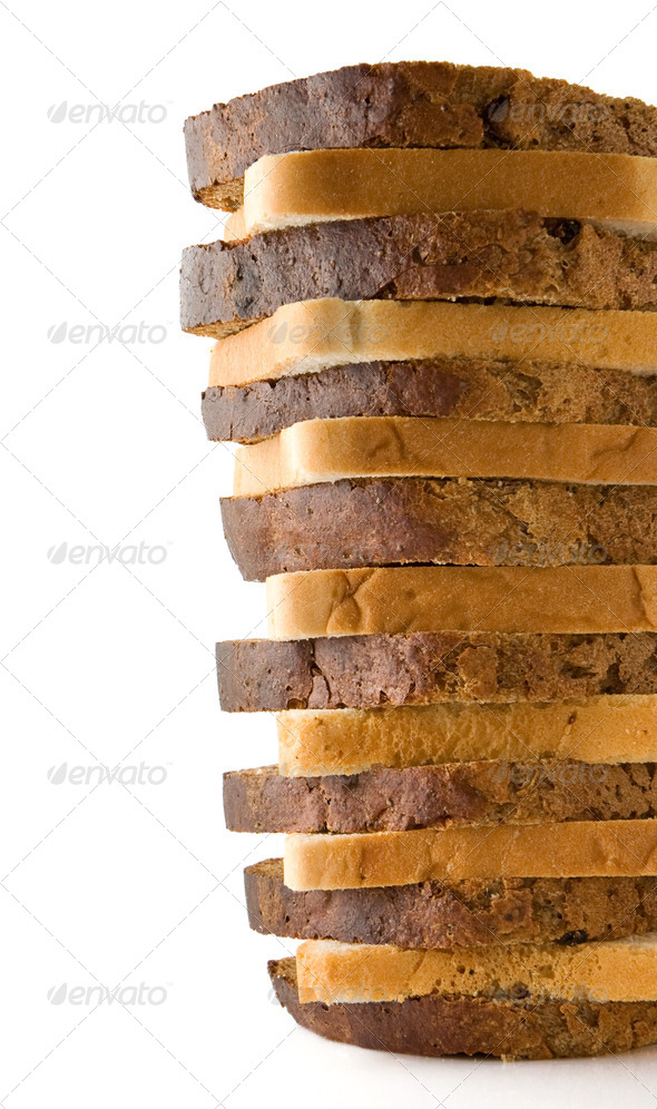 loaf of sliced bread isolated on white - Stock Photo - Images