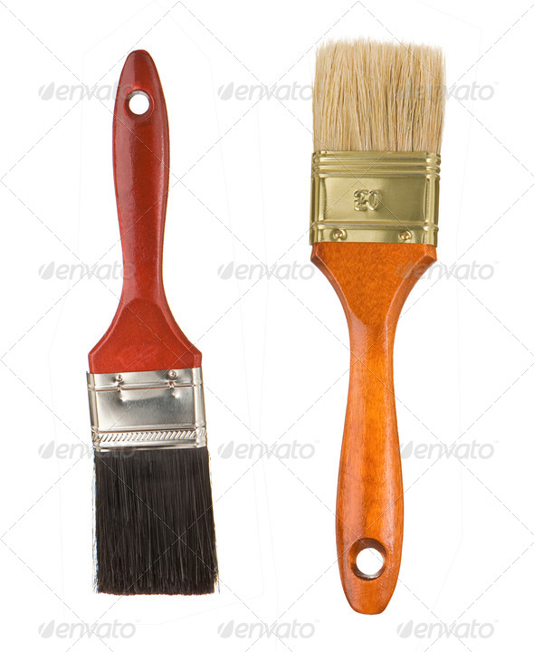 wooden red paintbrushes isolated on white - Stock Photo - Images