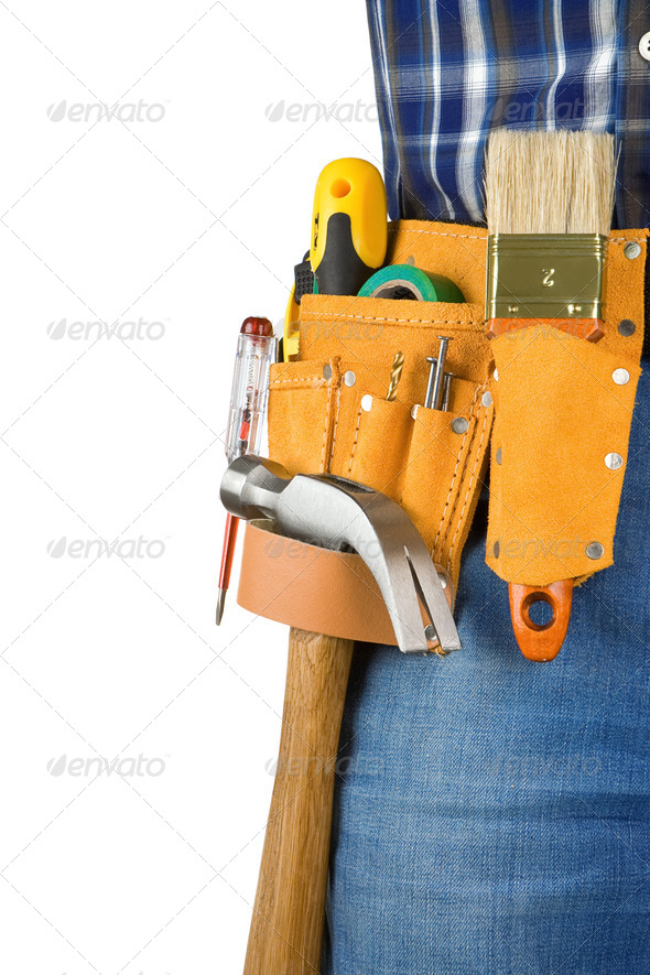 man and tools in leathern belt isolated - Stock Photo - Images