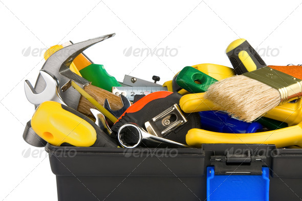 tools in black toolbox isolated on white - Stock Photo - Images