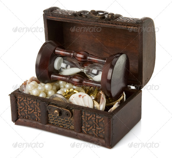 chest with coins and jewels on white - Stock Photo - Images