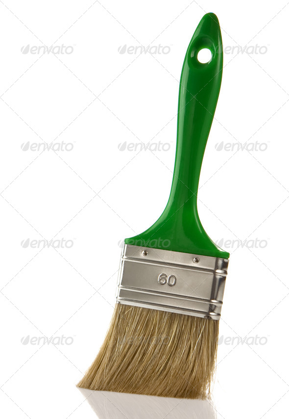 green paintbrush isolated on white - Stock Photo - Images