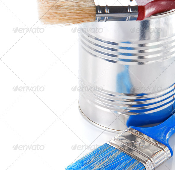 paint brush and bucket isolated on white - Stock Photo - Images