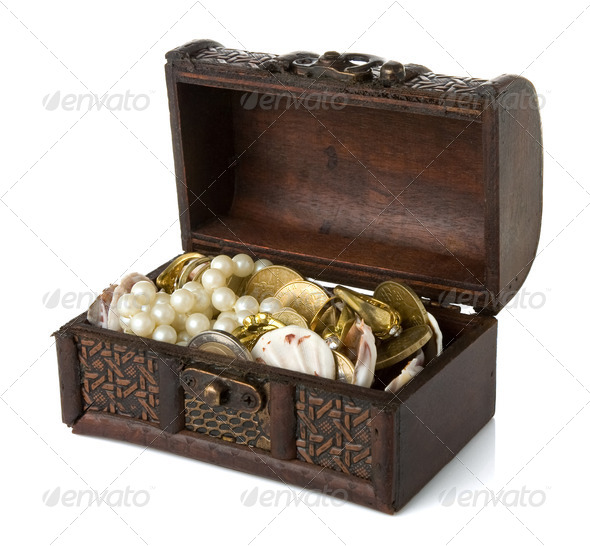 chest with coins and jewels isolated on white - Stock Photo - Images