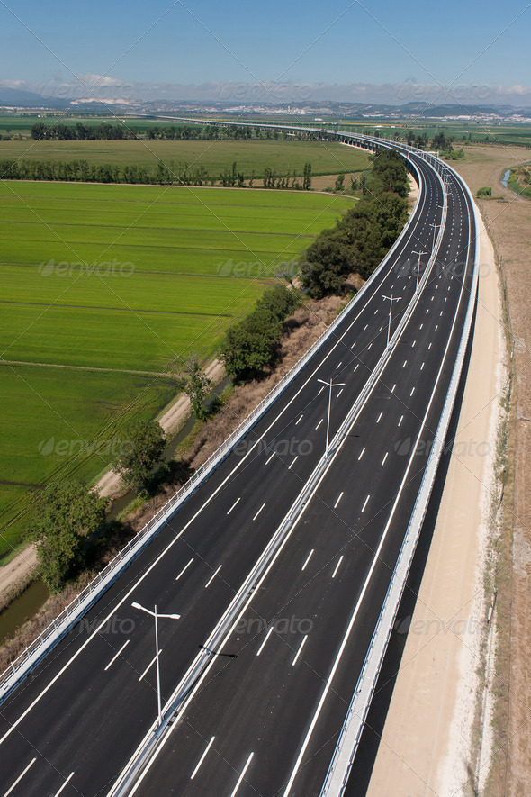 Aerial view of motorway - Stock Photo - Images