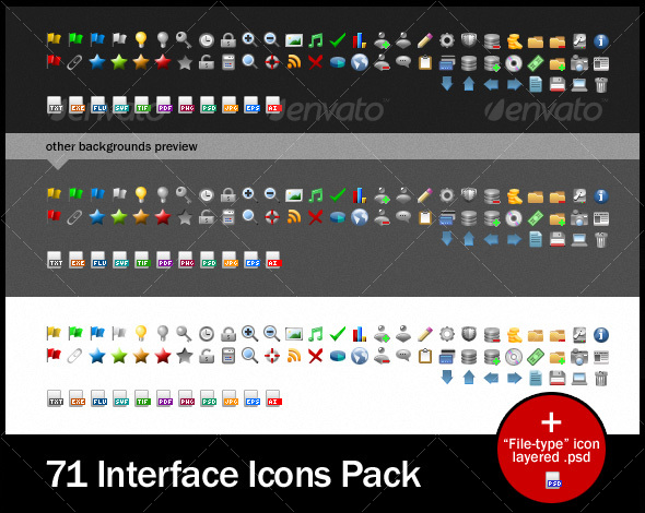 71 Interface Icons Pack - Web Icons