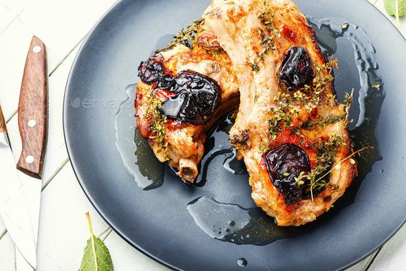 Pork in plum sauce - Stock Photo - Images