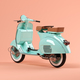 Blue scooter on pink background 3 D illustration - PhotoDune Item for Sale