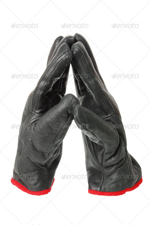 Black Leather Gloves - Stock Photo - Images