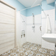 Decorated bathroom adapted for disabled people. Contemporany accessibility indoor architecture - PhotoDune Item for Sale