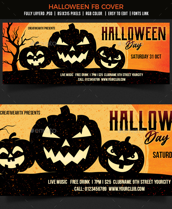 Halloween Party Fb Cover By Creativeartx Graphicriver