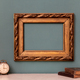 Empty gold vintage picture frame with books - PhotoDune Item for Sale