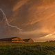 Lightning over grain storage facilities - PhotoDune Item for Sale