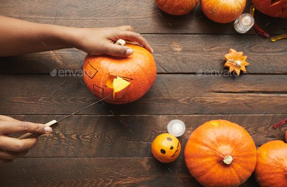 Carving Pumpkin Flat Lay - Stock Photo - Images