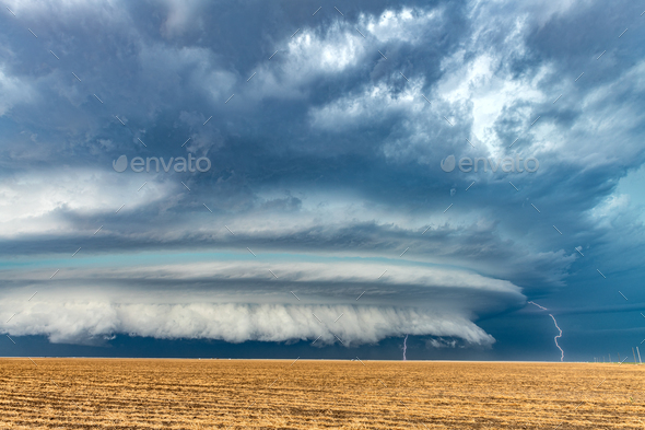 Lightning over Plains - Stock Photo - Images