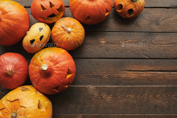 Pumpkins On Table Flat Lay - Stock Photo - Images