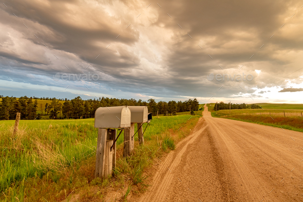 Dirt road in the Great Plains - Stock Photo - Images
