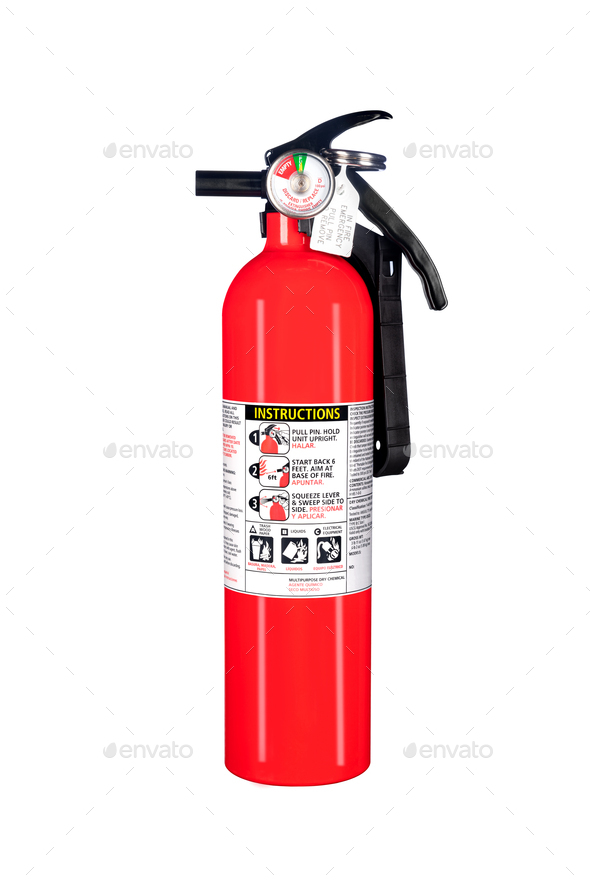 Fire extinguisher isolated on white - Stock Photo - Images