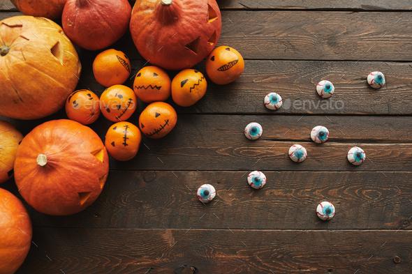 Jack O' Lanterns With Eyeballs Flat Lay - Stock Photo - Images