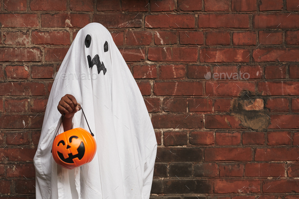 Kid Dressed Up As Ghost - Stock Photo - Images